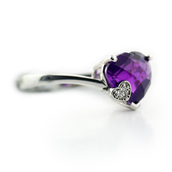 Heart Shaped Amethyst Ring - Thenetjeweler