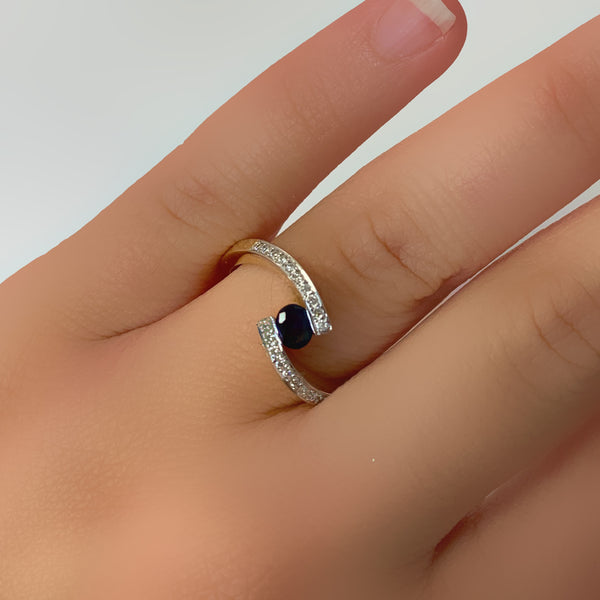 Blue Sapphire and Diamond Twist Band Ring