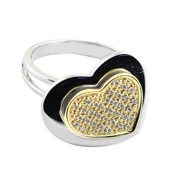Diamond Double Hearts Ring 2-Tone Gold
