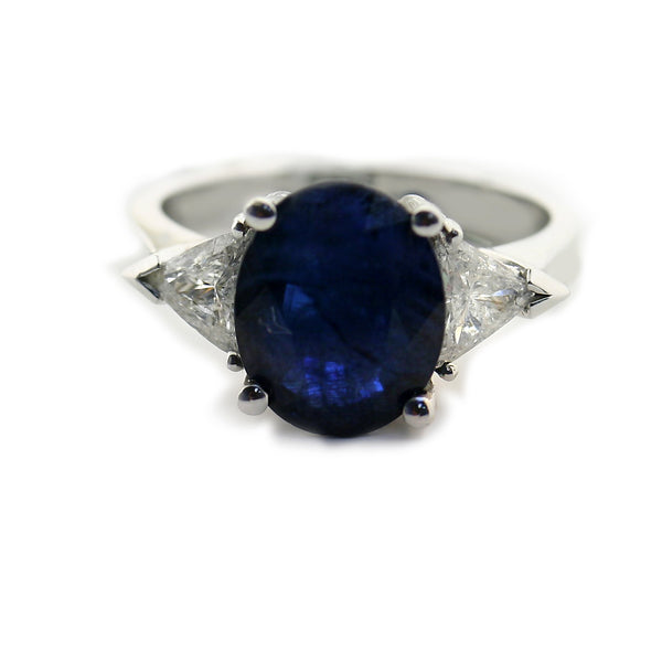 Sapphire Diamond Ring 14k White Gold - Thenetjeweler
