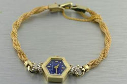 Bulova Vintage Lapis Lazuli Diamond Women's Wrist Watch 14K Yellow Gold - Thenetjeweler