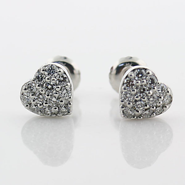 Diamond Heart Stud Earrings 14k White Gold Screw Back 0.35 carat - Thenetjeweler by Importex