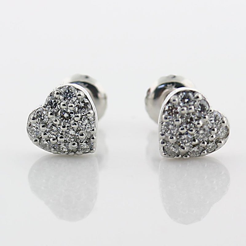 Diamond Heart Stud Earrings 14k White Gold Screw Back 0.35 carat - Thenetjeweler