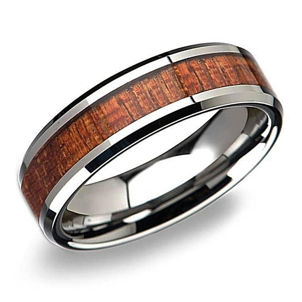 Tungsten Mahogany Hard Wood Inlay Beveled Ring Wedding Band - Thenetjeweler