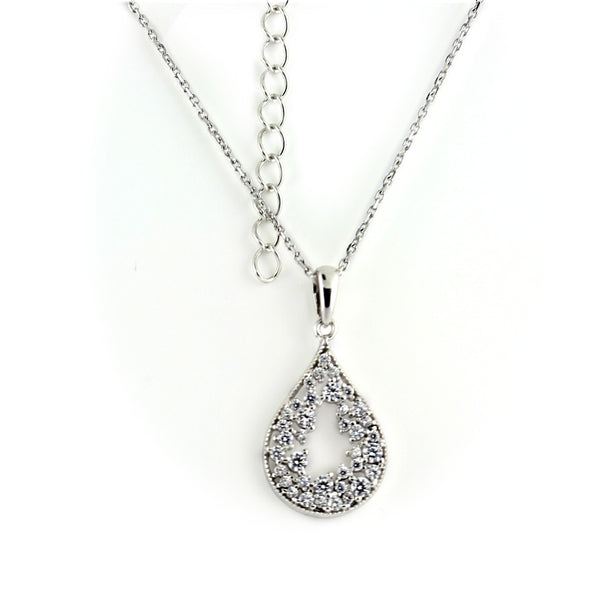 Sterling Silver Cubic Zirconia Pendant Necklace - Thenetjeweler