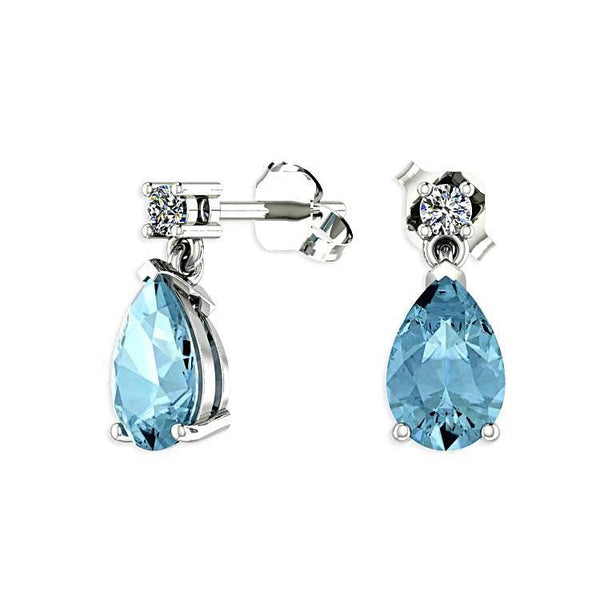 Blue Topaz Pear Drop Stud Diamond Earrings 14K White Gold - Thenetjeweler by Importex