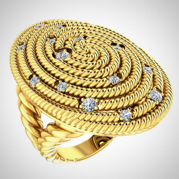 Diamond Ring Cable coil Design 14K Yellow Gold - Thenetjeweler by Importex
