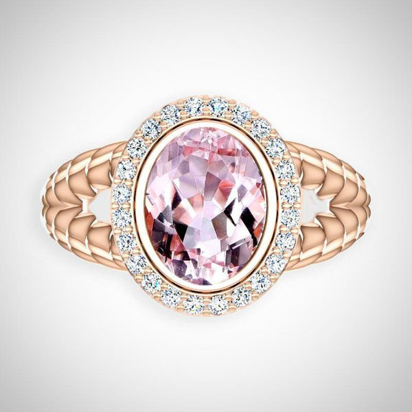 Pink Gold Checkerboard Rose Morganite Diamond Ring Cable coil Design - Thenetjeweler by Importex