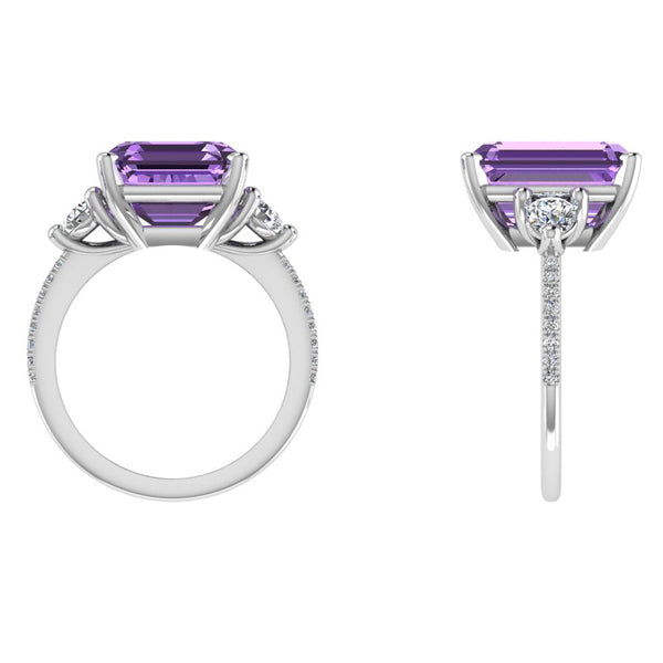 Emerald Cut Amethyst and Diamond Ring - Thenetjeweler