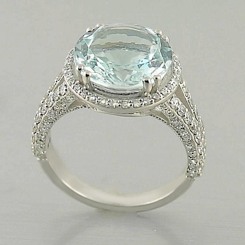 Aquamarine and Diamond Ring 18K White Gold - Thenetjeweler