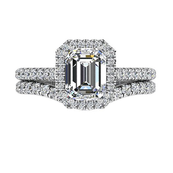 Emerald Shaped Diamond Wedding Ring Set - Thenetjeweler