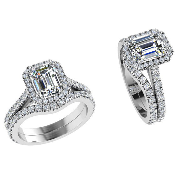 Emerald Cut Halo Wedding Set