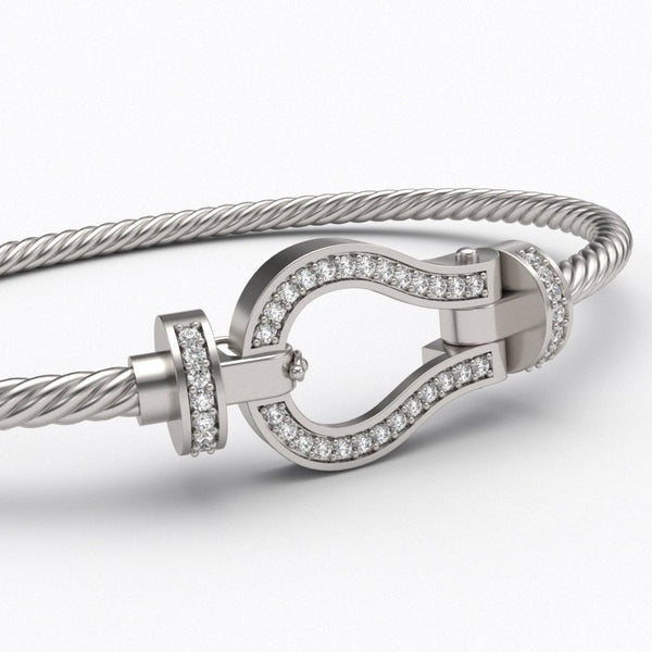 Cable and Diamond Bracelet 10K Gold - Thenetjeweler by Importex