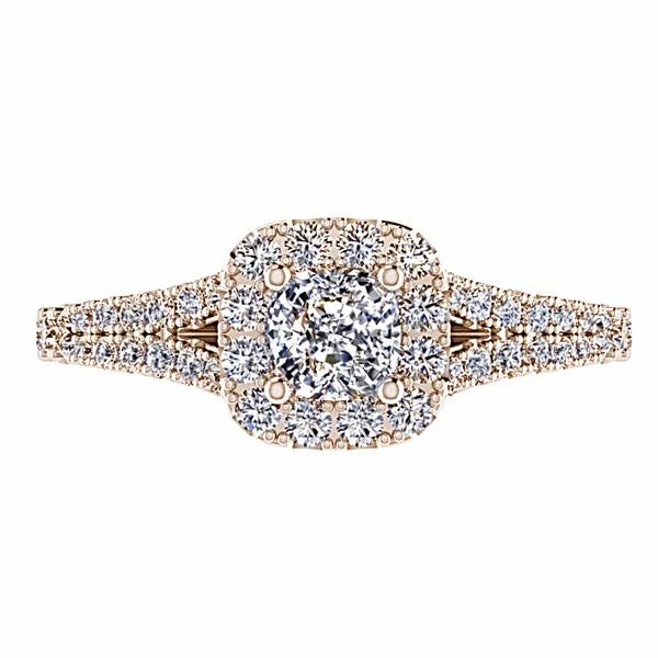 Round Diamond Cushion Halo Engagement Ring with Side Stones 18K Rose Gold - Thenetjeweler