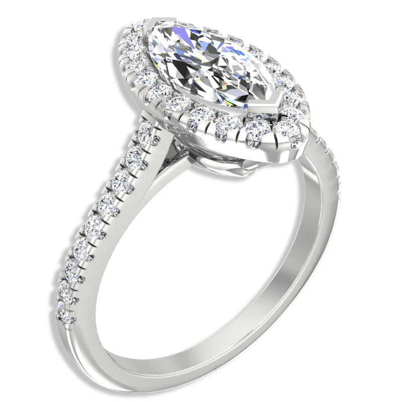 Marquise Cut Halo Diamond Engagement Ring 14K White Gold - Thenetjeweler by Importex