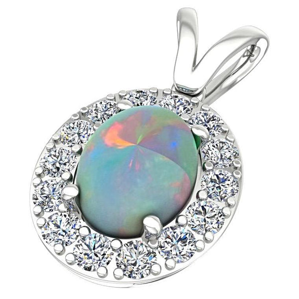 Opal and Diamond Halo Pendant Necklace 14K White Gold - Thenetjeweler