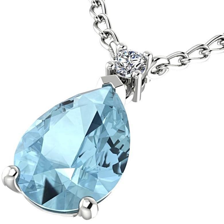 Blue Topaz Pear Shaped Pendant Diamond Necklace 14K White Gold - Thenetjeweler