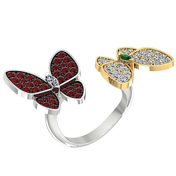 Double Butterfly Ring 14K two tone Gold Setting - Thenetjeweler