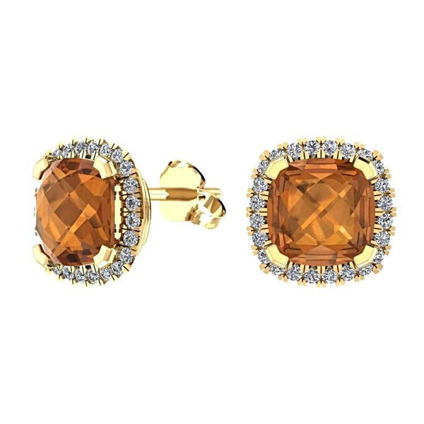 Citrine Cushion Diamond Halo Stud Earrings 18K Yellow Gold - Thenetjeweler