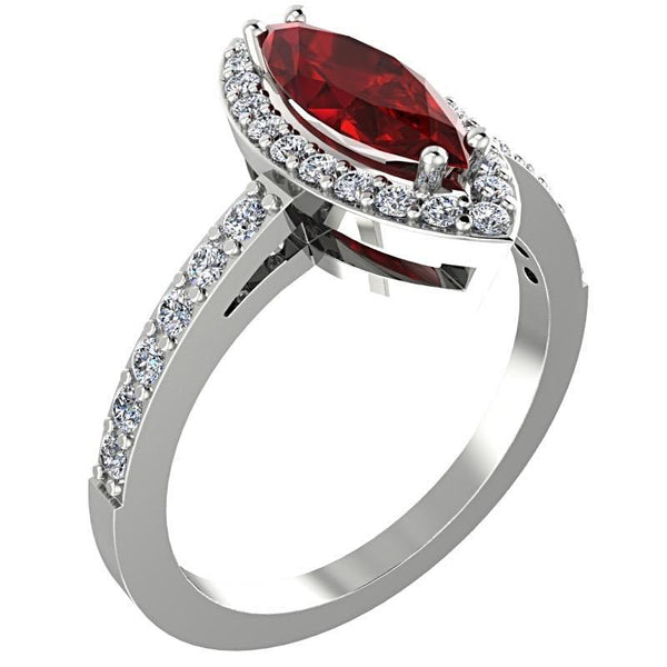 Garnet Marquise Halo Diamond Ring 14K White Gold - Thenetjeweler