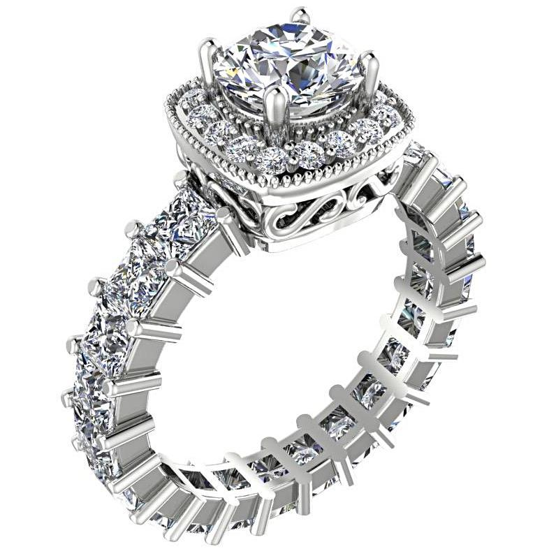 Round Diamond Halo with Princess Cut Side Stones Engagement Ring 18K White Gold - Thenetjeweler
