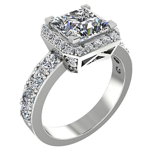 Princess Halo Diamond Engagement Ring with Side Stones 18K White Gold - Thenetjeweler