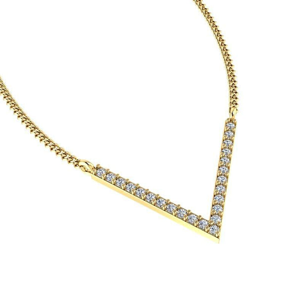 V Shape Diamond Pendant Necklace 18K Yellow Gold - Thenetjeweler