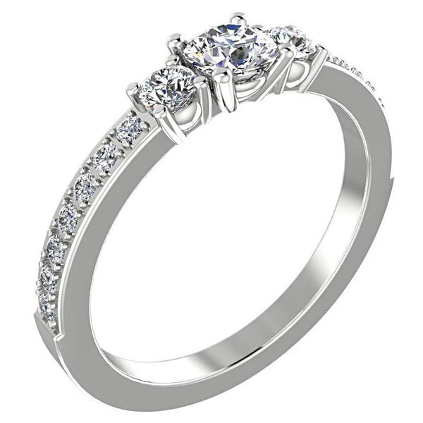Three Stone Engagement Ring with Side Stones 18K White Gold - Thenetjeweler