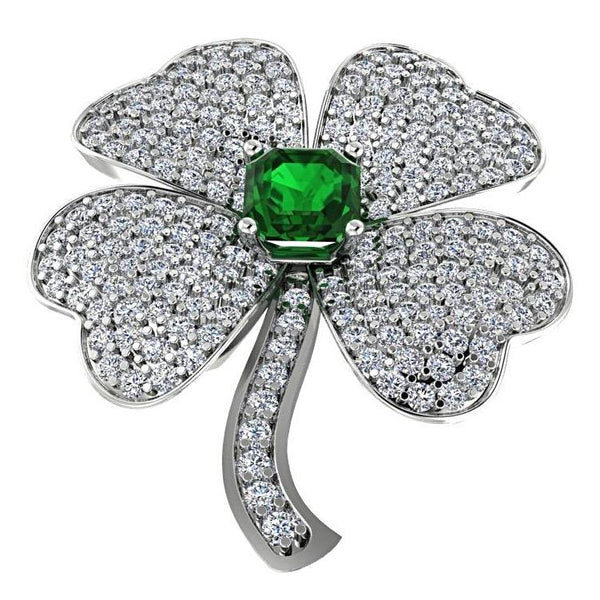 Clover Diamond Pendant with Emerald Stone 14K White Gold - Thenetjeweler