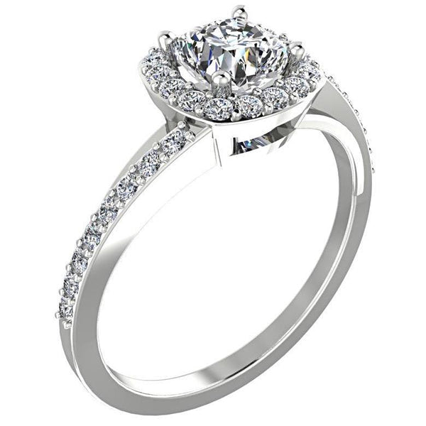 Cushion halo split shank diamond engagement ring - Thenetjeweler