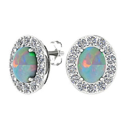 Opal and Diamond Halo Stud Earrings 14K White Gold - Thenetjeweler