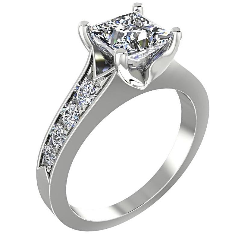 Princess Diamond Engagement Ring with Side Stones 14K White Gold - Thenetjeweler