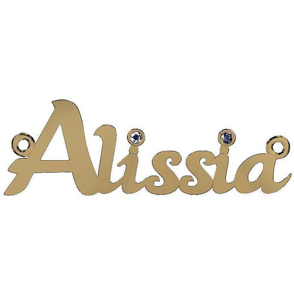 Personalized Name Necklace Alissia with Diamonds 14K Yellow Gold - Thenetjeweler by Importex