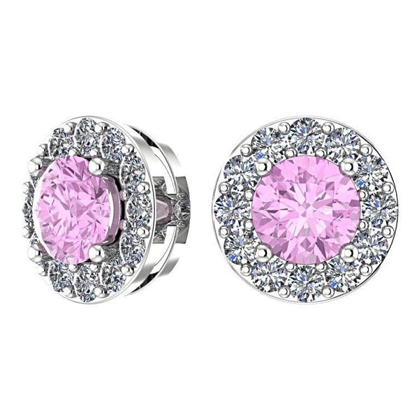 Pink Tourmaline Diamond Halo Stud Earrings 14K White Gold - Thenetjeweler