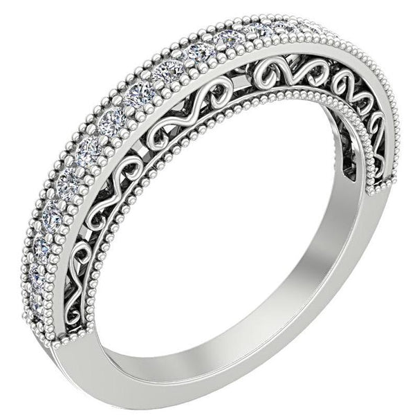 Round Diamond Milgrain Ring with Detailed Design 14K White Gold - Thenetjeweler