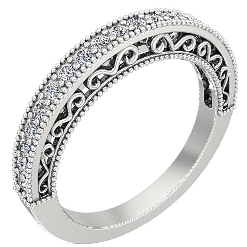 Round Diamond Ring with Milgrain Design 14K White Gold