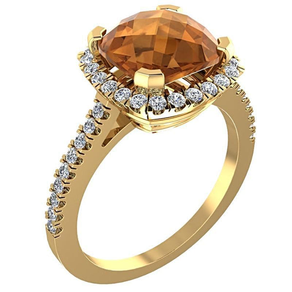 Citrine Cushion Diamond Halo Ring 18K Yellow Gold - Thenetjeweler