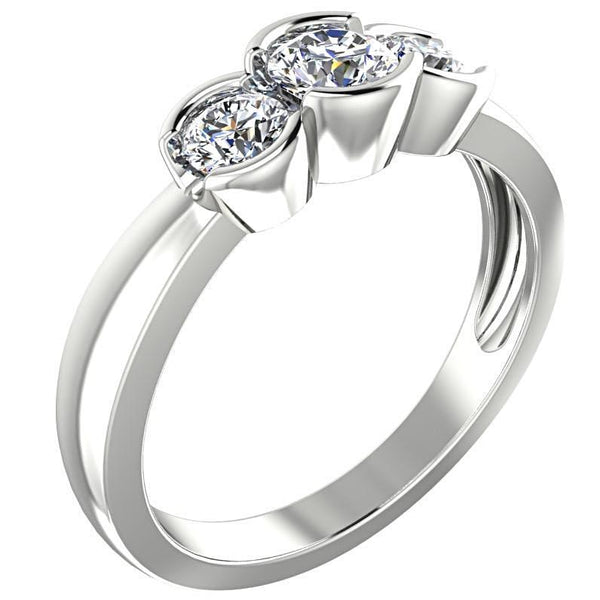 Round Three Stone Engagement Ring 18K White Gold - Thenetjeweler