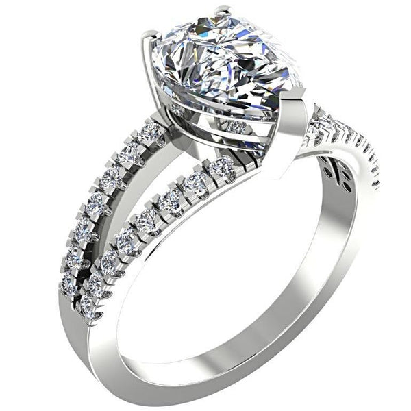 Pear Diamond Split Shank Engagement Ring with Side Stones 18K White Gold - Thenetjeweler