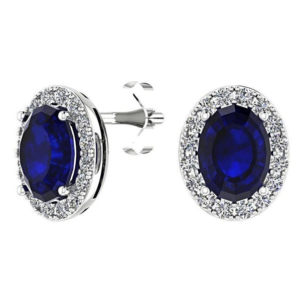 Oval Sapphire Diamond Halo Stud Earrings 18K White Gold - Thenetjeweler