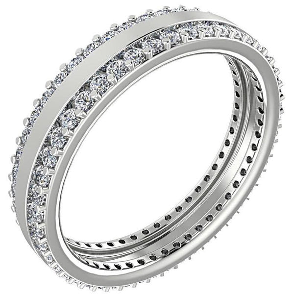 0.79 cwt Three Row Diamond Eternity Ring Band 18K White Gold - Thenetjeweler by Importex