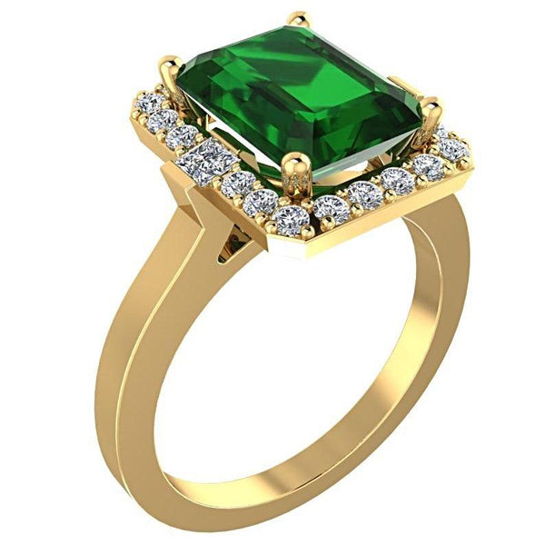 Emerald and Diamond Halo Ring 18K Yellow Gold - Thenetjeweler