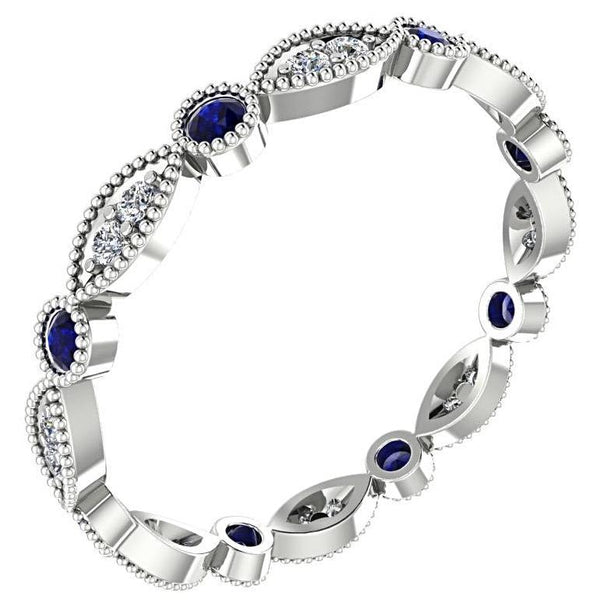 Sapphire and Diamond Milgrain Marquise and Dot Eternity Ring 14K White Gold - Thenetjeweler