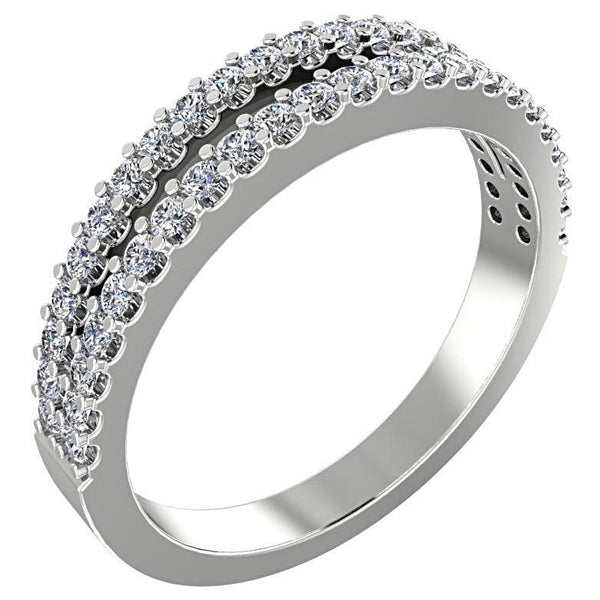 Diamond Split Shank Semi Eternity Ring Band 18K White Gold - Thenetjeweler by Importex