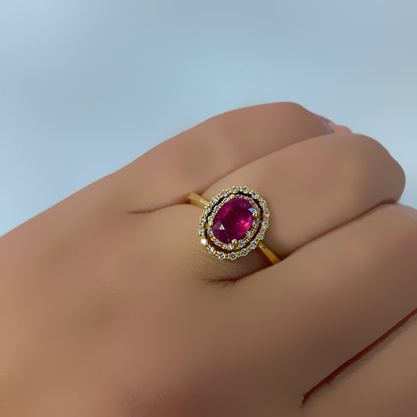 Ruby and Diamond Ring Yellow Gold - Thenetjeweler