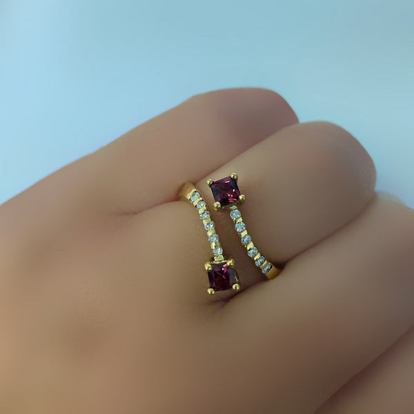 Rhodolite Diamond Ring