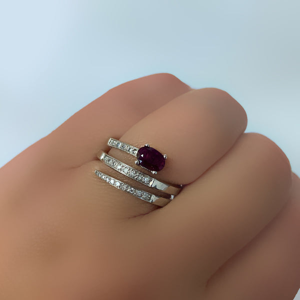 Ruby and Diamond Ring Band White Gold - Thenetjeweler