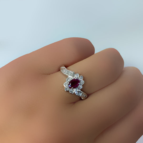 Ruby and Diamond Ring White Gold - Thenetjeweler