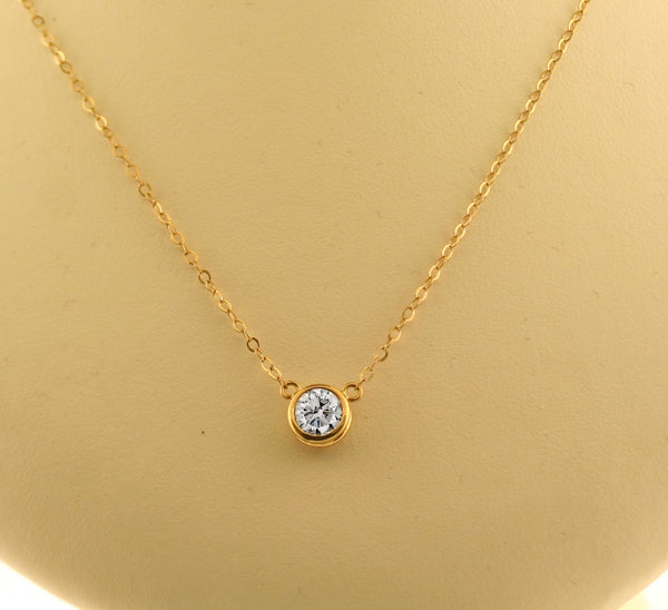 1 carat diamond necklace solitaire yellow gold