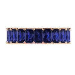 Blue Sapphire and Diamonds Eternity Anniversary Wedding Stackable Band 18k Pink Gold - Thenetjeweler
